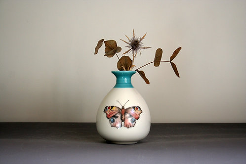 Small Butterfly Bud Vase Design - Teal Rim
