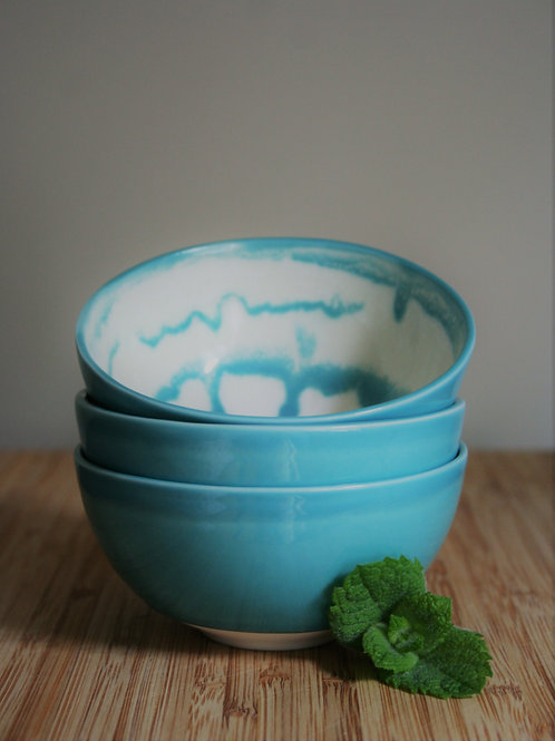 Set of 3 Tea Bowls- Teal Blue