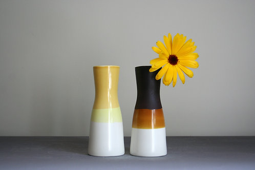 Set of Small Vases-Yellow & Brown
