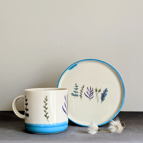 Blue Mug & Plate Set