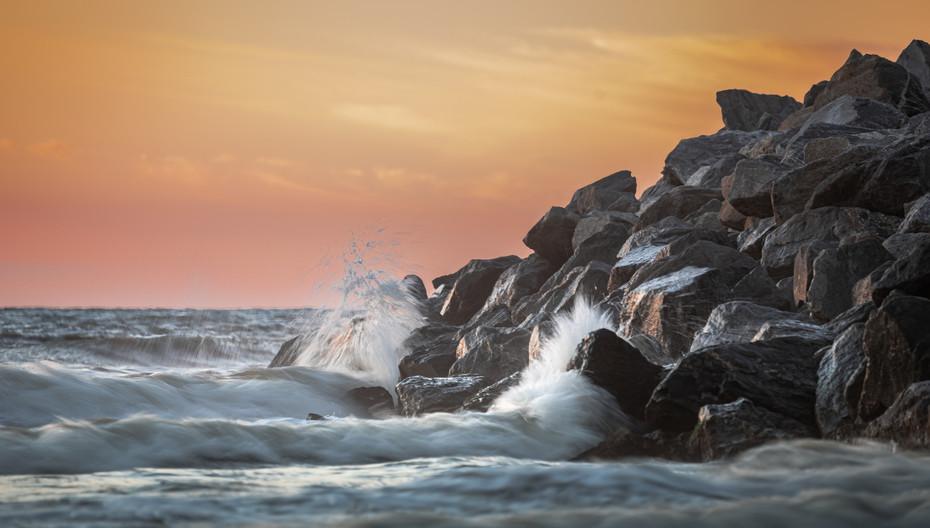 Crashing waves at Sunset