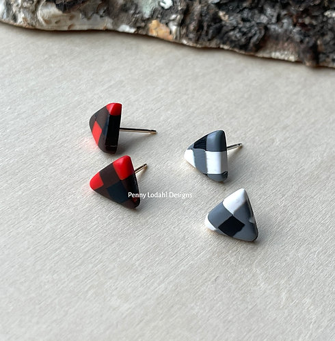 Buffalo Plaid Studs - Triangles