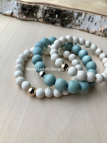 Wood Bracelet - Baby Blue