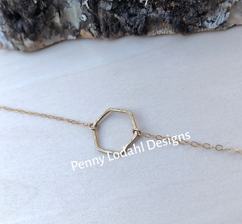 Dainty Hexagon Necklace