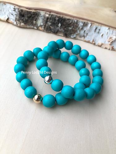 Wood Bracelet -Turquoise