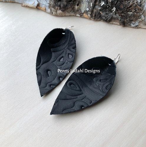 Leather Leaf Earrings - Black Embossed