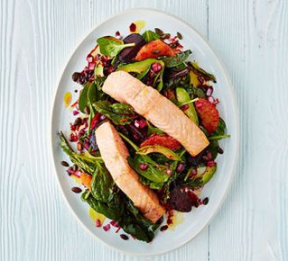 Your Dinner... Zesty salmon with roasted beets & spinach