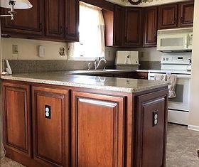 kitchen peninsula with false front doors