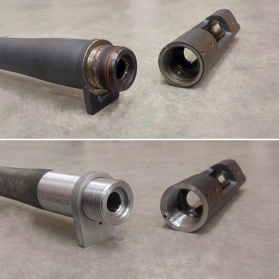 before and after shot of a re-barrel job we recently completed for a customer
