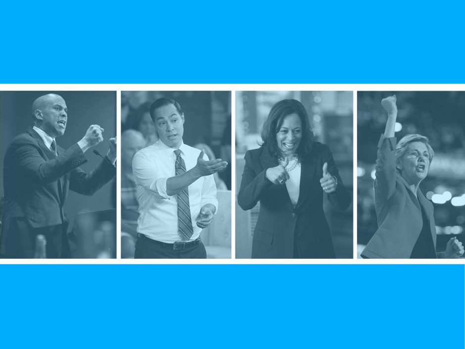 Cory Booker, Julian Castro, Kamala Harris, Elizabeth Warren