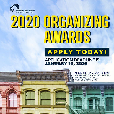 NLIHC 2020 Housing Organizing Awards to Recognize Excellence in Statewide and Local Housing Advocacy