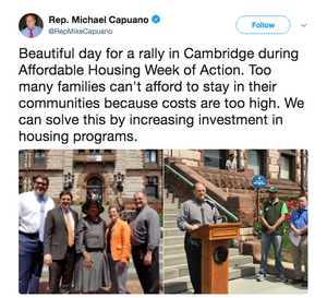 Beautiful day for a rally in Cambridge during Affordable Housing Week of Action. Too many families can't afford to stay in their communities because costs are too high. We can solve this by increasing investment in housing programs.