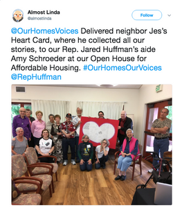 @OurHomesVoices Delivered neighbor Jes's Heart Card, where he collected all our stories, to our Rep. Jared Huffman's aide Amy Schroeder at our Open House for Affordable Housing. #OurHomesOurVoices @RepHuffman