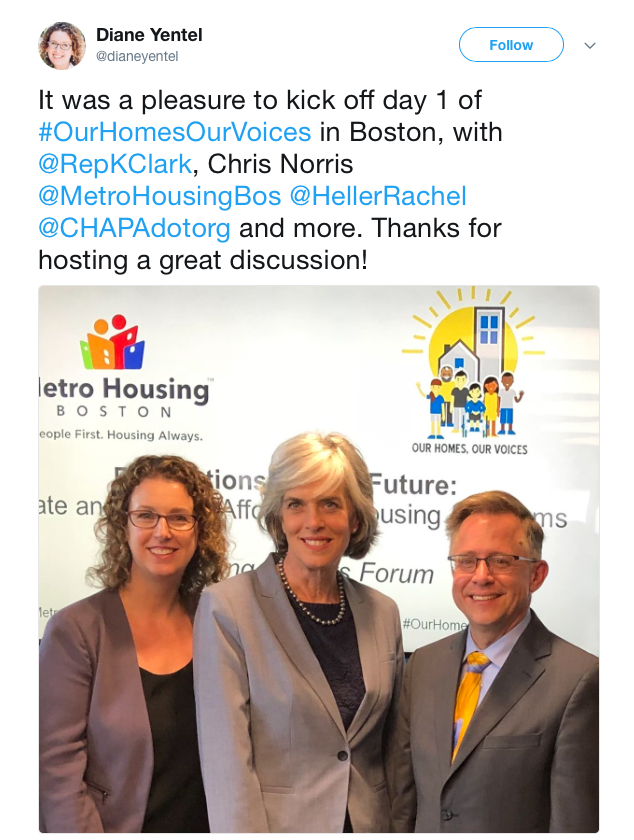 It was a pleasure to kick off day 1 of #OurHomesOurVoices in Boston, with @RepKClark, Chris Norris @MetroHousingBos @HellerRachel @CHAPAdotorg and more. Thanks for hosting a great discussion!