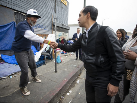Julián Castro tours L.A.'s skid row to talk about his housing plan
