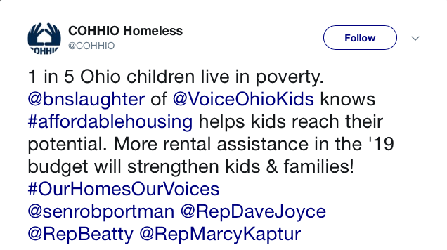 1 in 5 Ohio children live in poverty. @bnslaughter of @VoiceOhioKids knows #affordablehousing helps kids reach their potential. More rental assistance in the '19 budget will strengthen kids & families! #OurHomesOurVoices @senrobportman @RepDaveJoyce @RepBeatty @RepMarcyKaptur