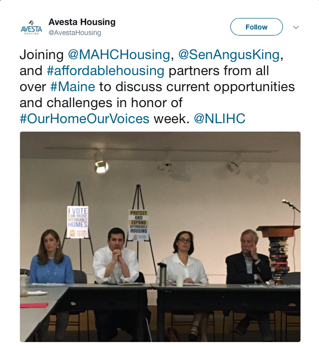 Joining @MAHCHousing, @SenAngusKing, and #affordablehousing partners from all over #Maine to discuss current opportunities and challenges in honor of #OurHomeOurVoices week. @NLIHC