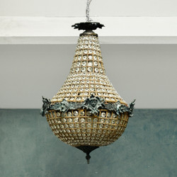 Chandelier at the top of the stairs