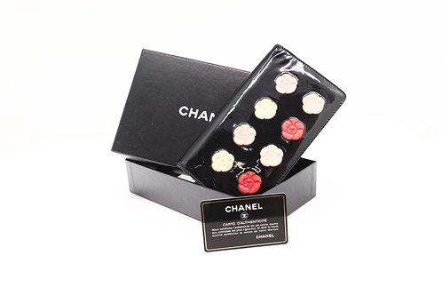 Chanel Camelia Palette Long Wallet in Black Patent Leather