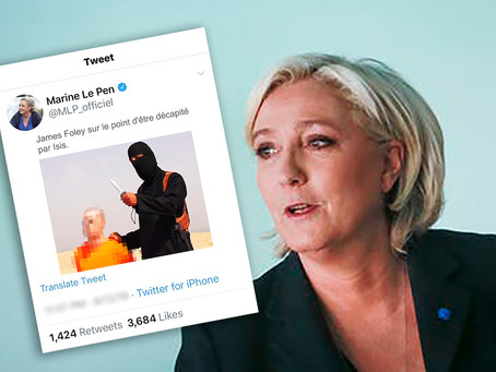 MARINE LE PEN ORDERED TO STAND TRIAL TWEETING PHOTOS OF ISIS KILLINGS