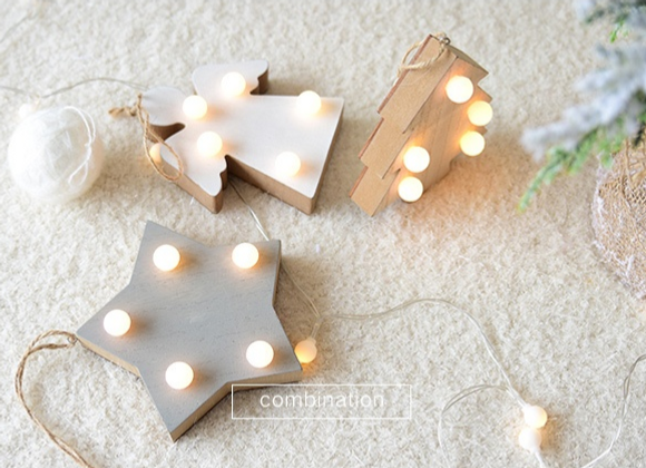 Wooden Hanging Ornaments with LED