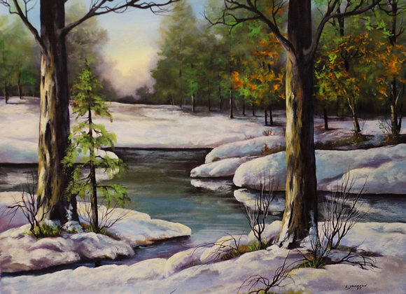 Winter creek in the forest