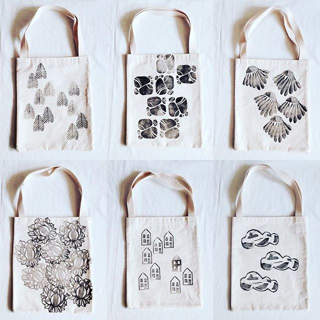 small #linoprint #totes in the shop now.. $25+shipping. not just a regular tote, sweet.simple.french