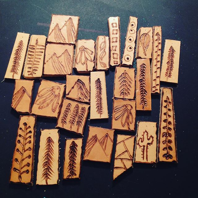 scrap #leather #pendants in the works.. 🙌🏼_._._