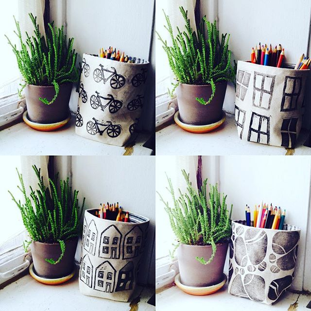 new #linoprint #fabricpots in the shop now.. ✨✨✨ $18+shipping_._._
