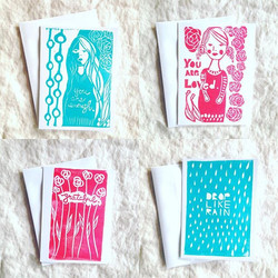 newly #handprinted #cards in my #studiogypsy art shop now.