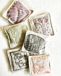blockprinted french lavender sachets.