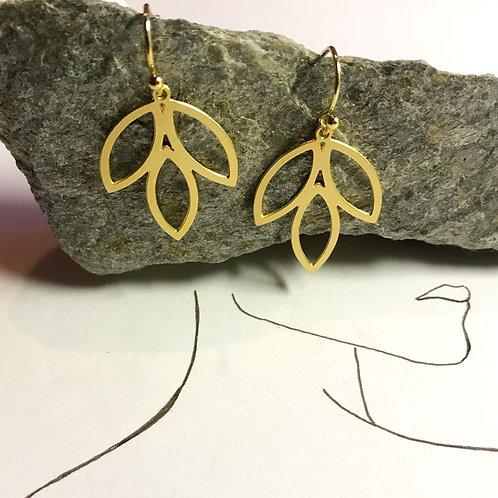 Ohrhänger Gold   Dreibalatt