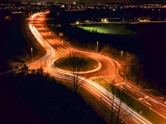 Roundabout in night, Denmark