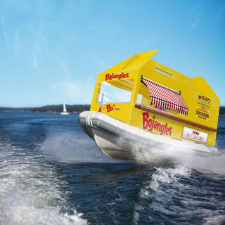 Look who we spotted out on the lake. The Bojangler Food Truck Boat: The only food truck that is a boat that sells fresh caught Bojangler sandwiches.