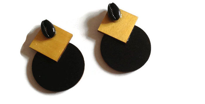 Geometric & Cowrie Shell Studs