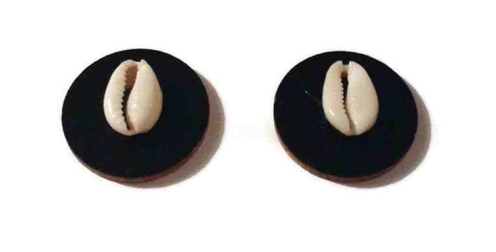 Wood & Cowrie Shell Studs