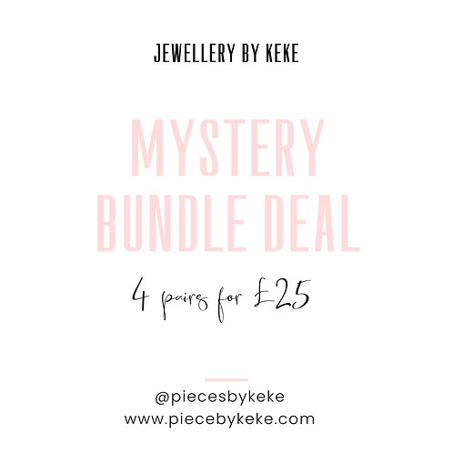 4 pairs of mystery one of kind statements earrings