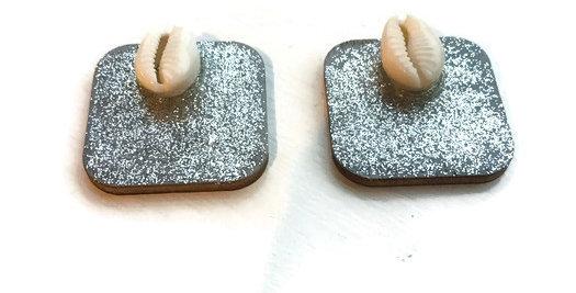Glitter & Cowrie Shell Studs