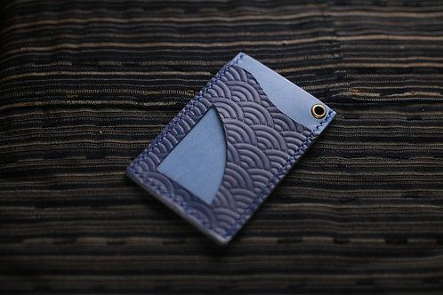 材料包: 青海波掛頸證件套 (軍藍拼淺藍)
