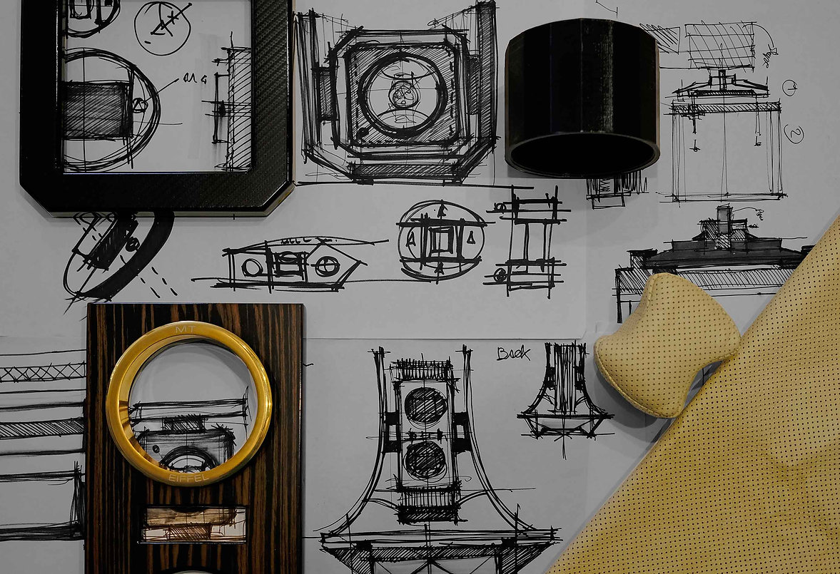 Photo of Maurizio Time watch winder's drawing and sketches with different materials used. Creativity made in Italy. Foto disegni e schizzi porta orologi Maurizio Time con vari materiali usati. Creatività made in Italy.