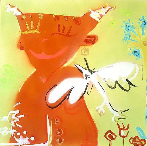 Dipinto Diavolo con uccello intero