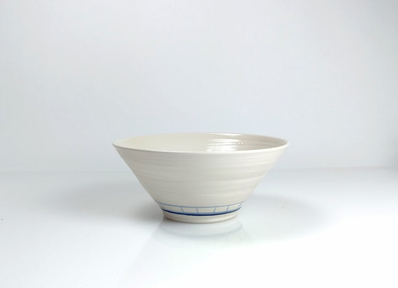 Large Porcelain Bowl / blue line