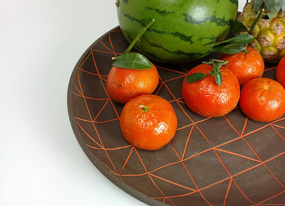 Dark Clay Pattern Platter