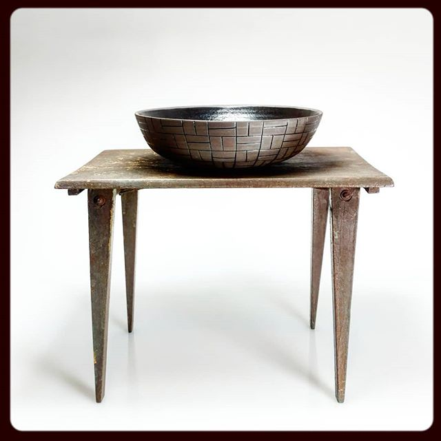 Black line serving bowl on a doll's table.jpg I love this little table.jpg I got it this summer at a