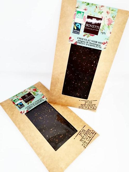 Tablette Chocolat noir 73% au Piment d'esplette