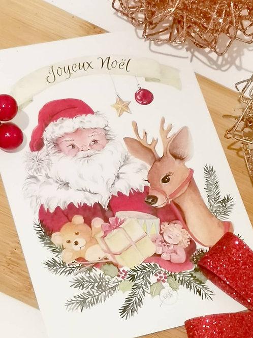 """Carte de Voeux """"Papa Noël"""""""