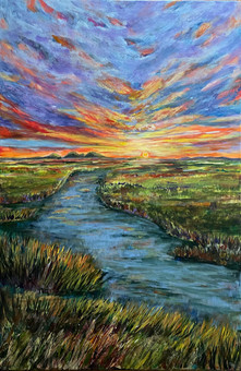 Sunset on the Marshland - Available at Plum Bottom Gallery in Egg Harbor, WI