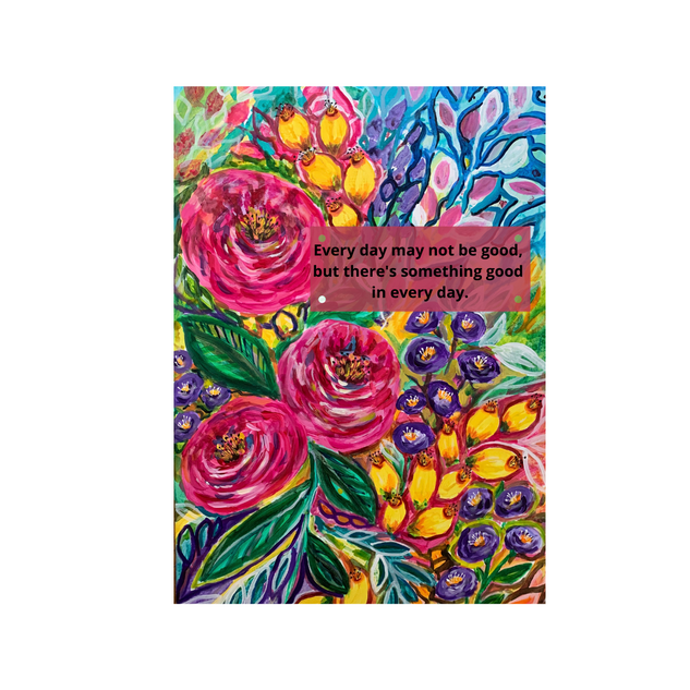 Happy Blooms with quote