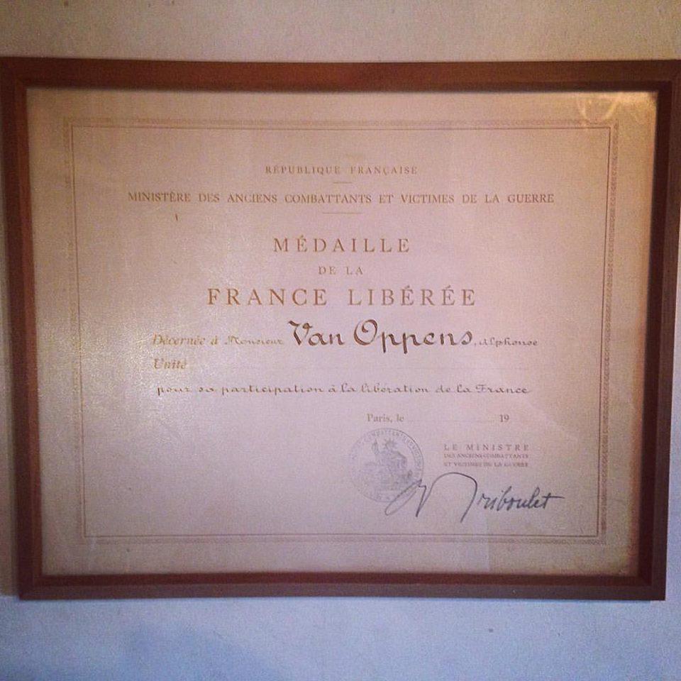 Médaille De La France Libéree from my granddad Albert / Alphonse Van Oppens