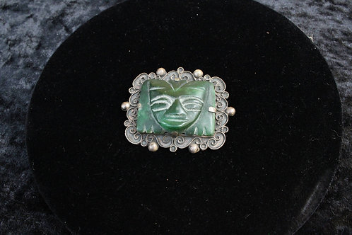 Sterling Silver Green Chalcedony Tribal Pendant